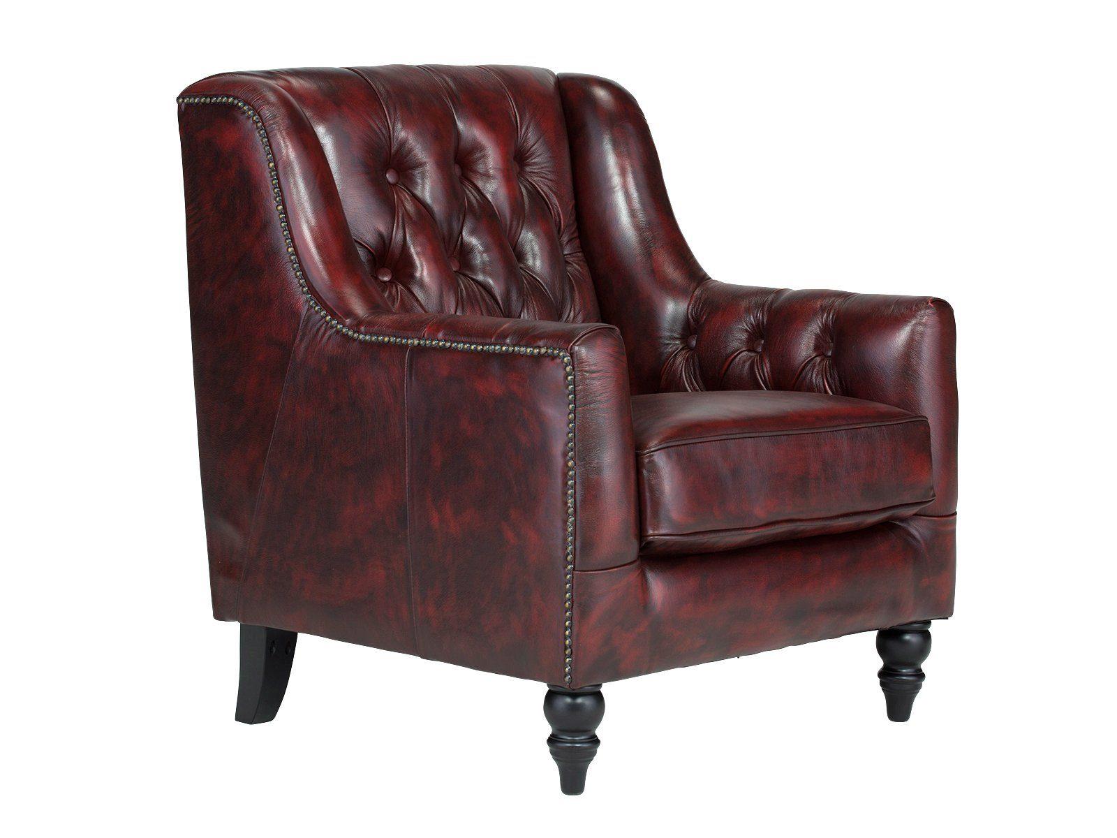 massivum Sessel aus Echtleder »Chesterfield Bozen «