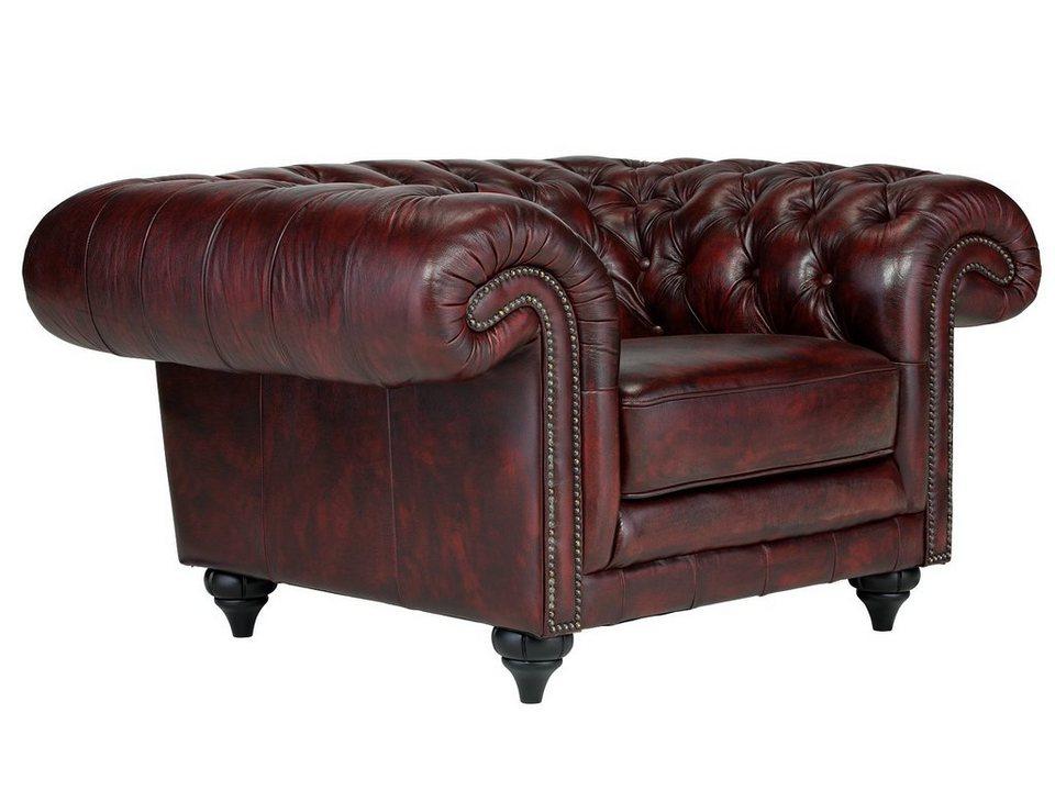 massivum Sessel aus Echtleder »Clifton « in rot