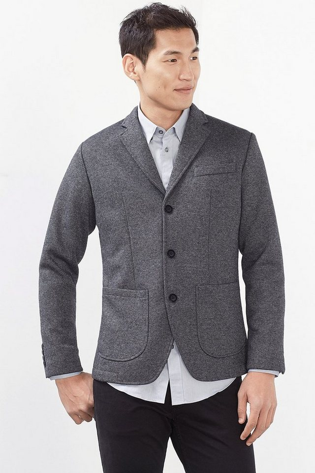 ESPRIT COLLECTION Woll-Mix Blazer aus Double-Face Strick in GREY