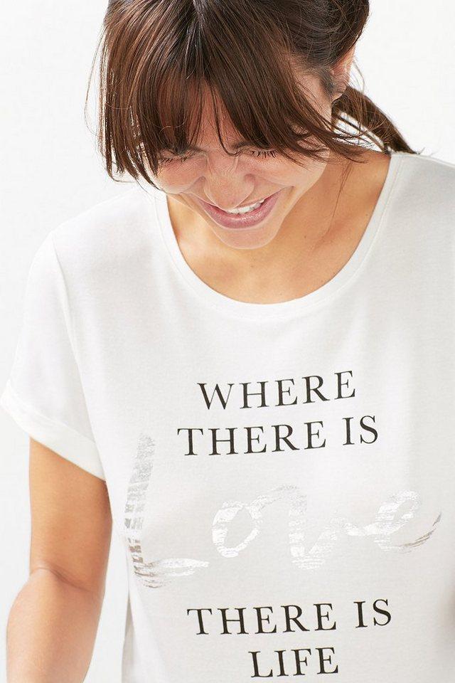 ESPRIT Supersoftes Sport T-Shirt mit Folien-Print in OFF WHITE