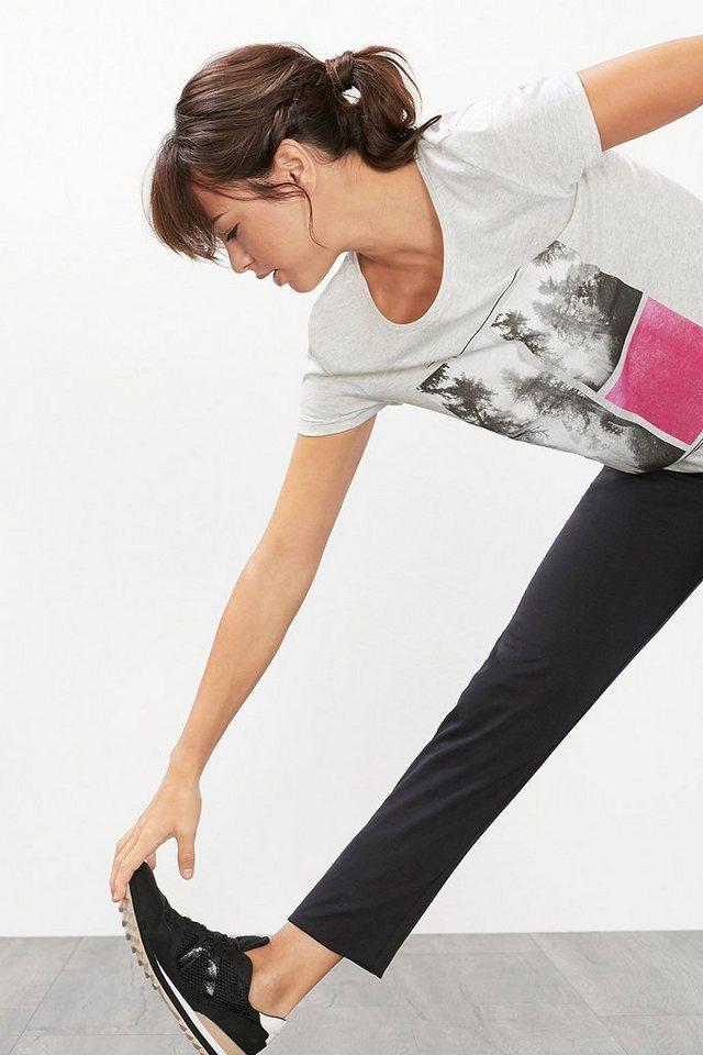 ESPRIT Fotoprint Sport T-Shirt aus Baumwoll-Mix in LIGHT GREY