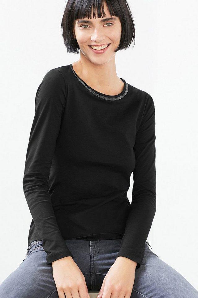 EDC Edel dekoriertes Langarmshirt in BLACK