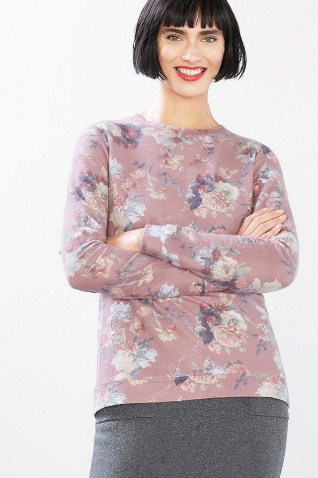 EDC Flauschiges Flower-Print Sweatshirt in MAUVE