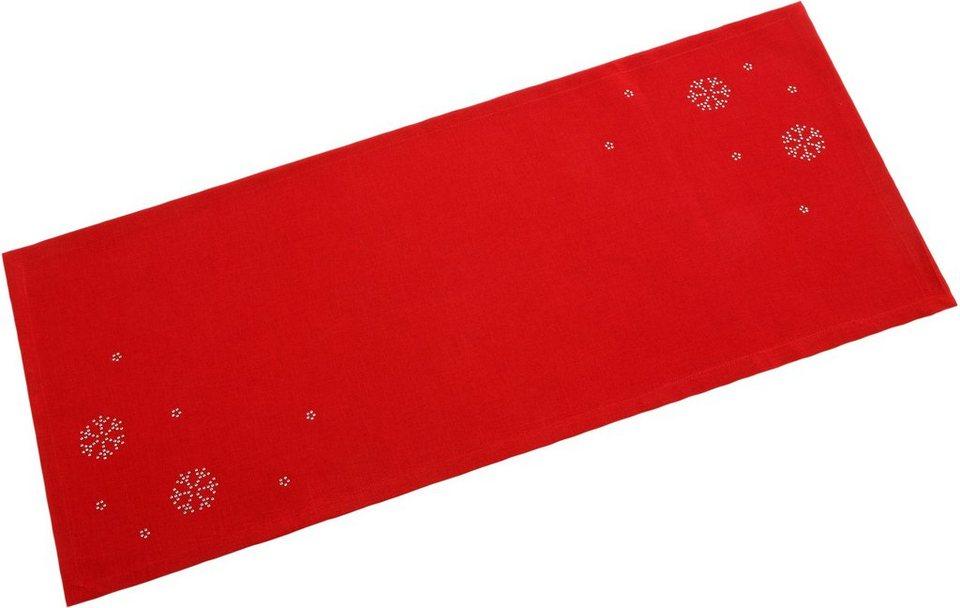 Dreams Tischdecke mit Strasssteinchen, »Schneeflocke« in rot