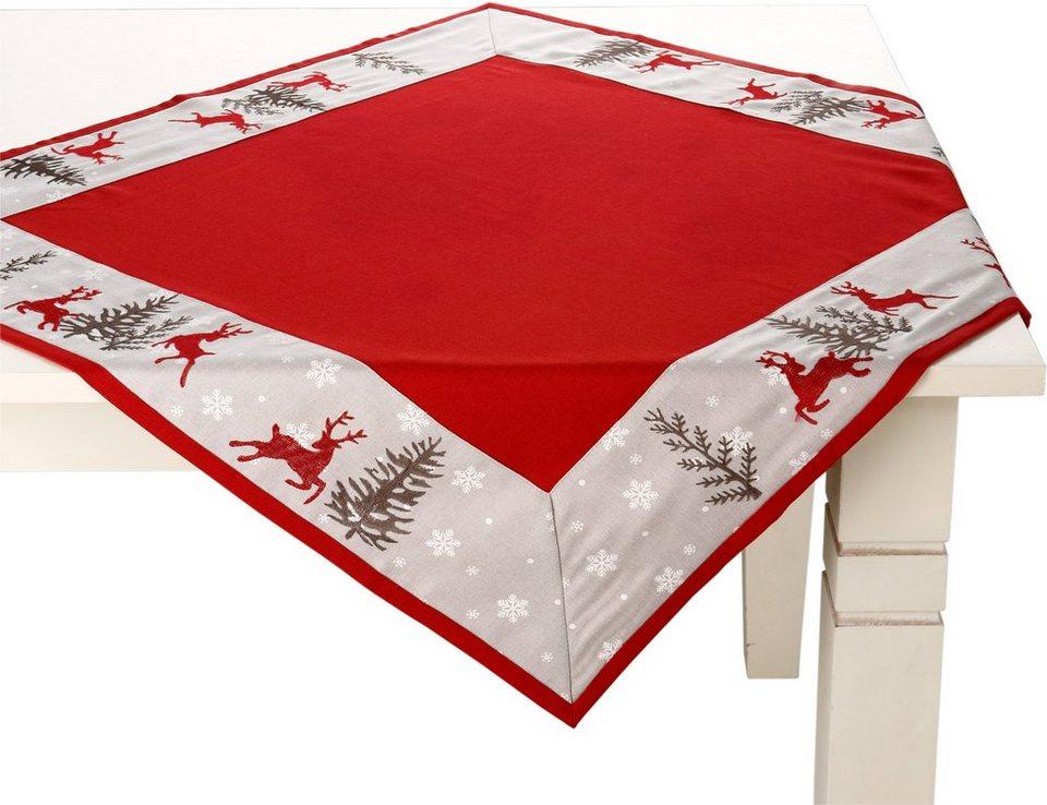 Weihnachtstischdecke, mit edler Stickerei, »Hirsch« in rot, hellgrau