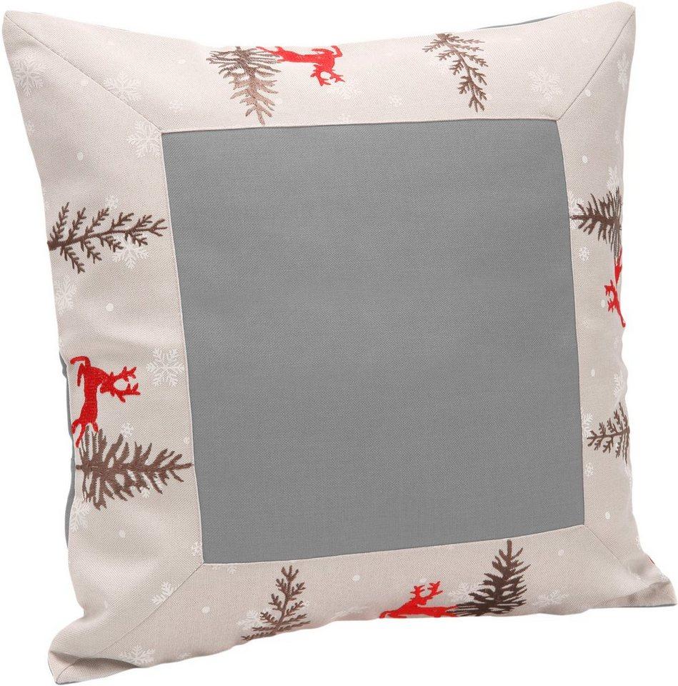 Kissenhülle mit edler Stickerei, »Hirsch« in rot, grau