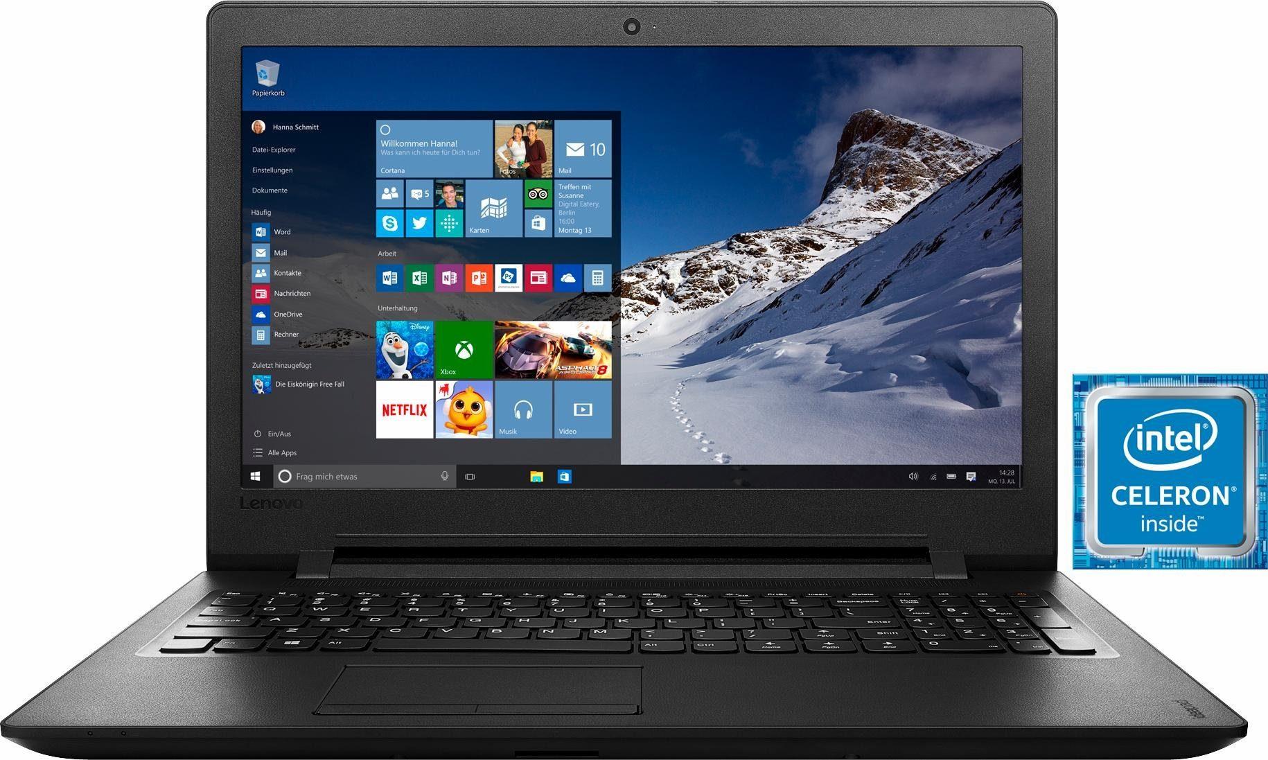 Lenovo Ideapad 110-15IBR Notebook, Intel® Celeron™, 39,6 cm (15,6 Zoll), 500 GB Speicher