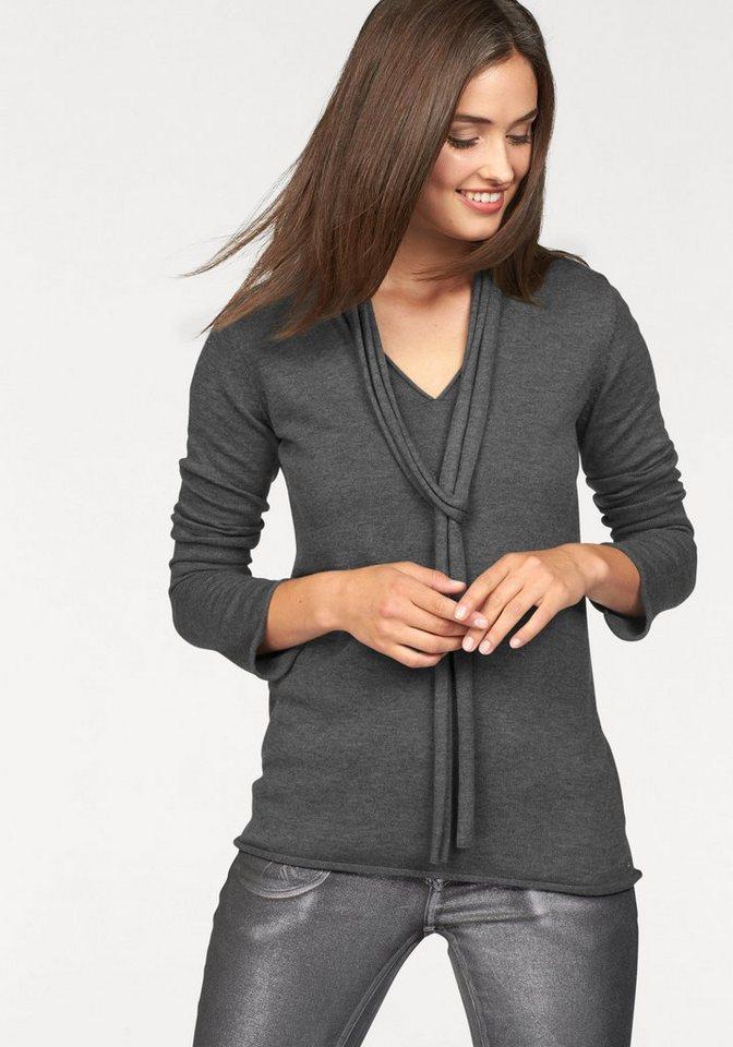 Laura Scott V-Ausschnitt-Pullover mit schmalem Schal in grau-meliert