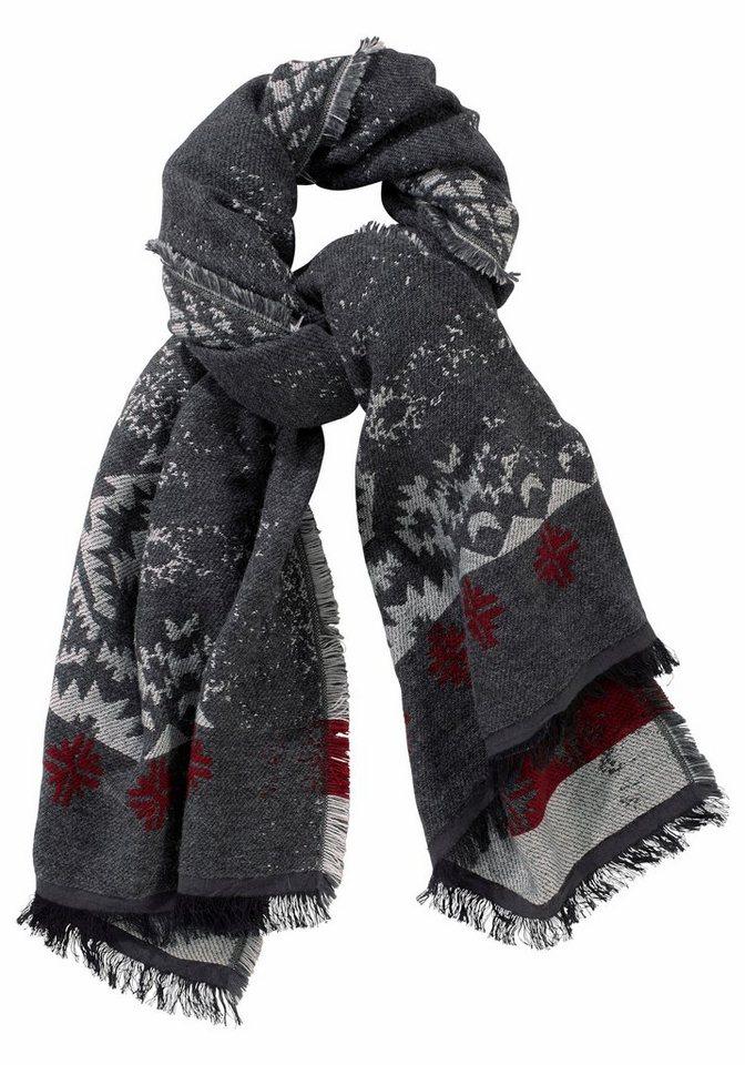 Passigatti Modeschal mit Schneeflocken in grau-rot