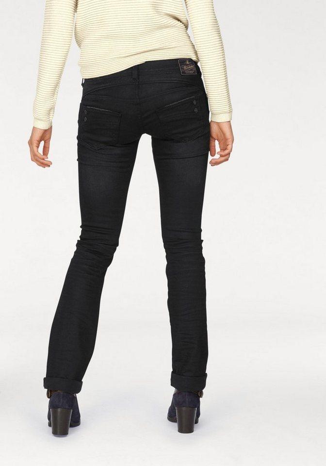 Herrlicher Straight-Jeans »Piper Straight« mit Dekoknöpfen in black