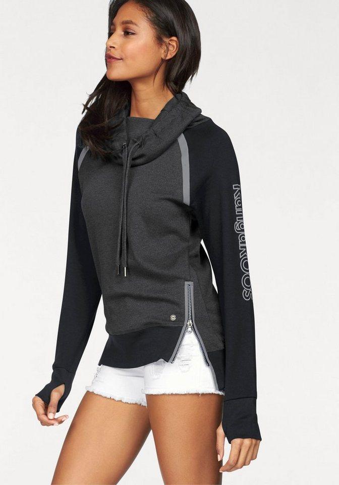 KangaROOS Sweatshirt mit weitem Schlauchkragen in anthrazit-schwarz
