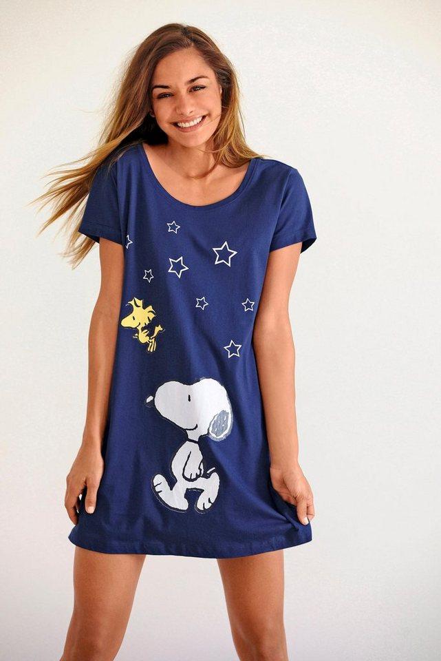 Peanuts Süßes Bigshirt mit Snoopyprint in Minilänge in marine