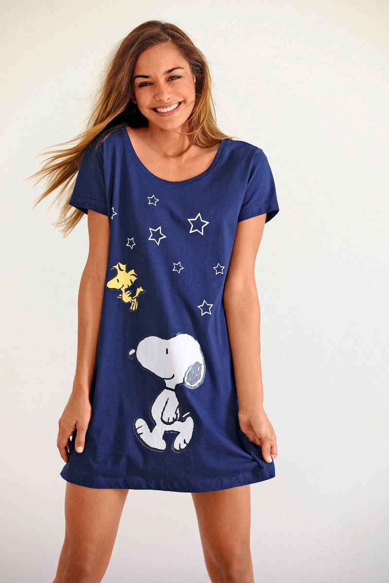 Peanuts Sleepshirt mit Snoopy-Print in Minilänge
