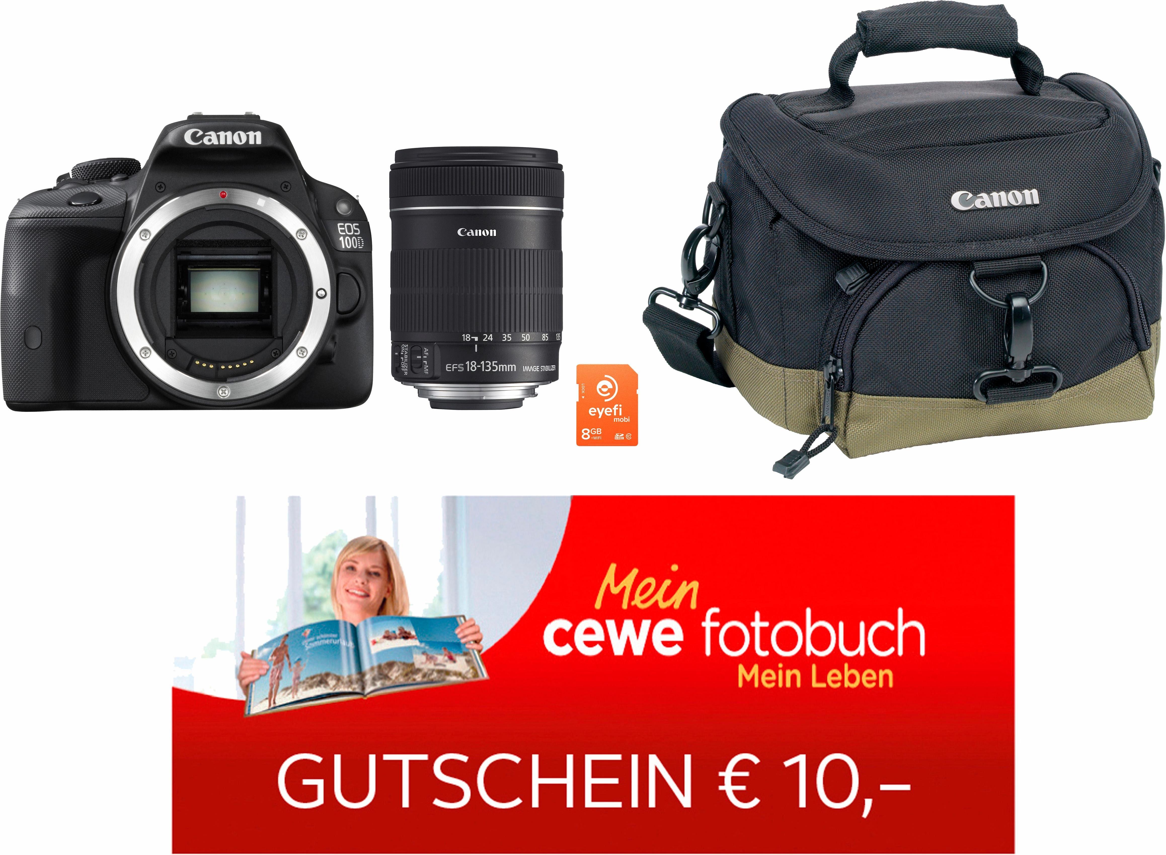 Canon EOS 100D Kit Spiegelreflex Kamera mit 18-135 Zoom-Objektiv inkl. Tasche & 8 GB Eye-Fi Karte