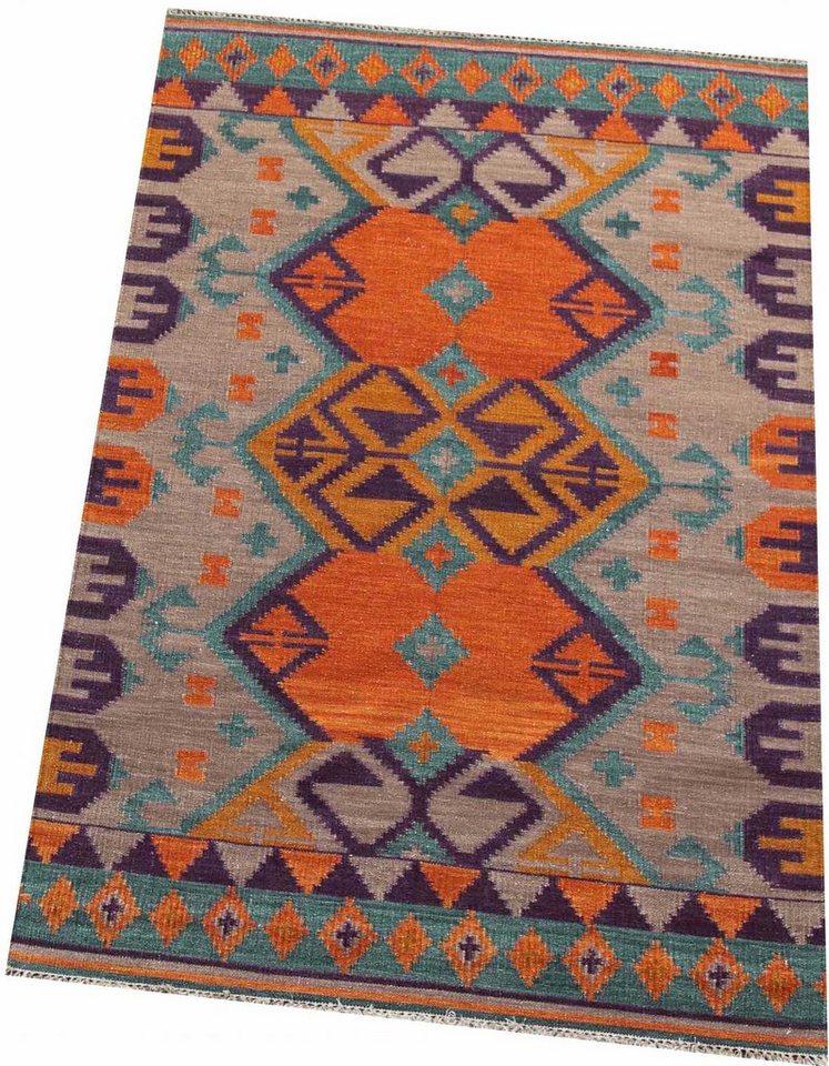 Teppich, Parwis, »Zebuline«, Flachgewebe in orange