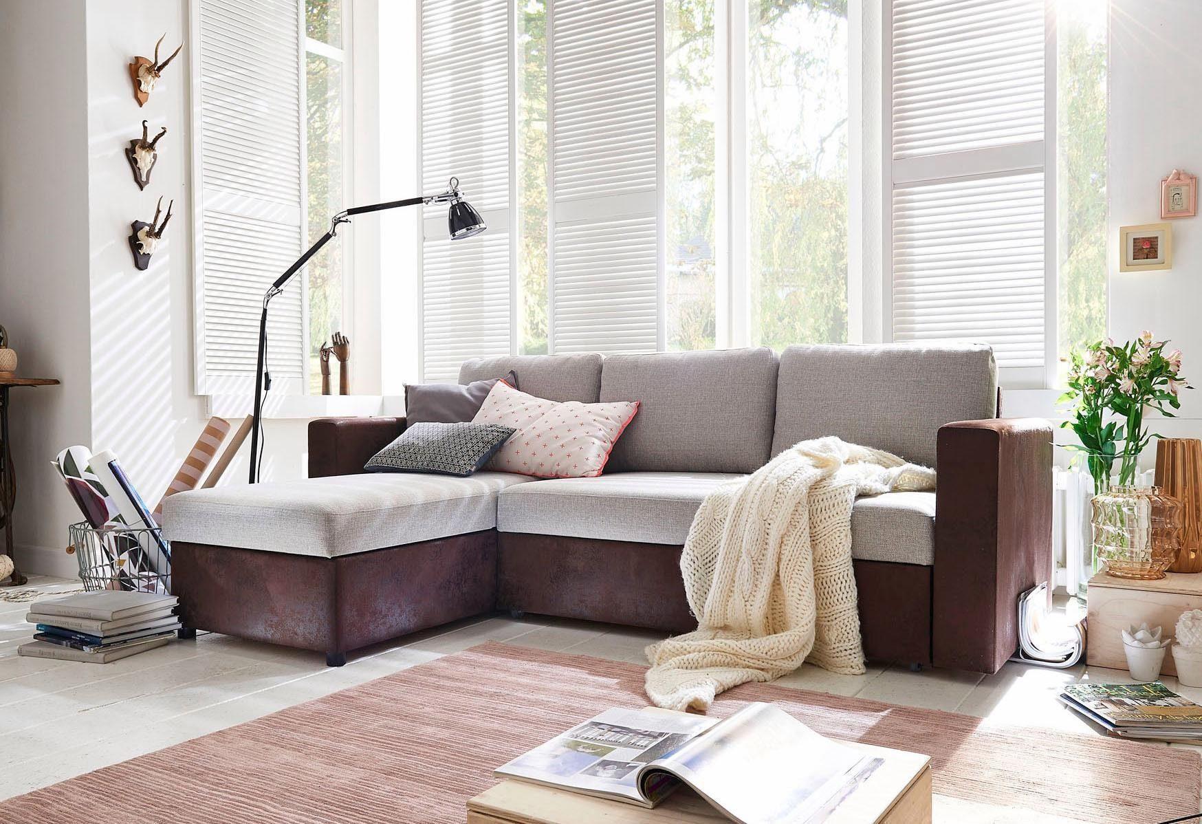 Home affaire Ecksofa »Wien«, mit Bettfunktion und Bettkasten