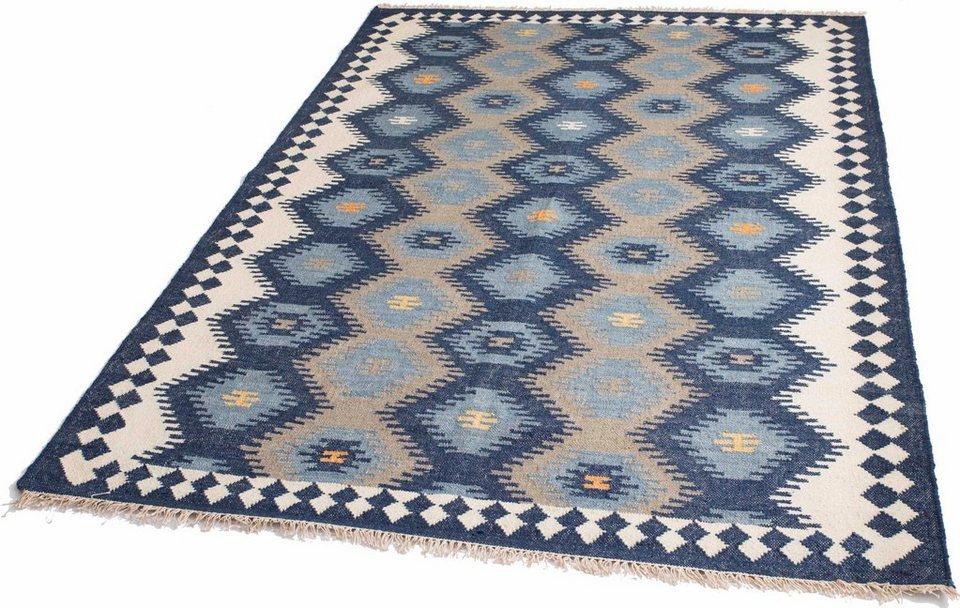 Teppich, Parwis, »Zebulon«, handgewebt in blau
