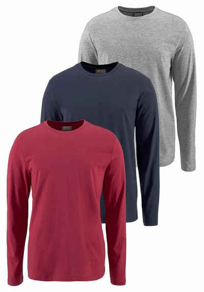 Man's World Langarmshirt (Packung, 3 tlg., 3er Pack)