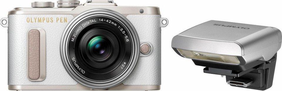 Olympus E-PL8 System Kamera, 14-42mm EZ Pancake Pancake, 16,1 Megapixel, 7,6 cm (3 Zoll) Display in weiß