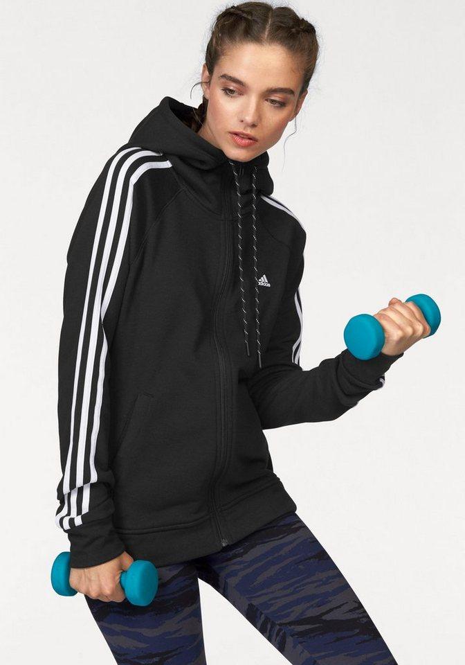 adidas Performance ESSENTIALS 3S HOODY Kapuzensweatjacke in Schwarz-Weiß