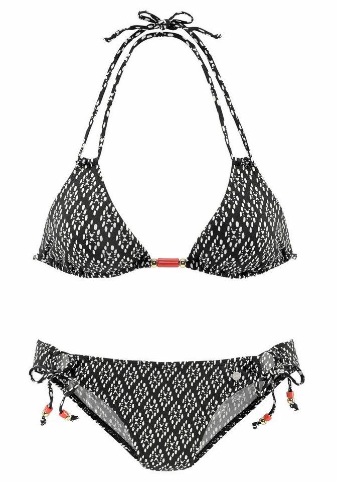 - Damen LASCANA Triangel-Bikini mit Zierperlen schwarz | 04893865811531
