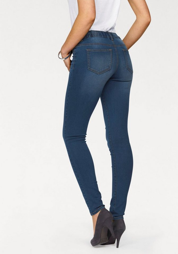 Arizona Skinny-fit-Jeans »Schlupfform« Mid Waist in blue-used