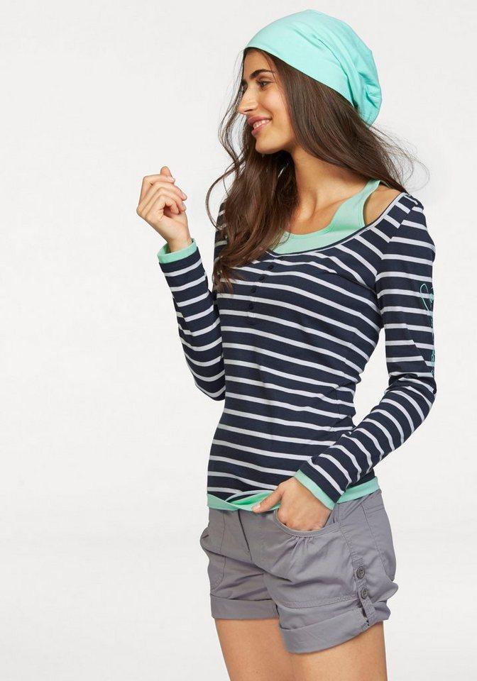 KangaROOS 2-in-1-Shirt Langarmshirt + Top in rauchblau-mint