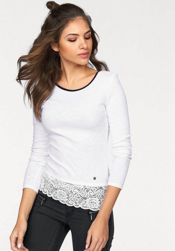 AJC Langarmshirt mit breiter, elastischer Spitze am Saum in weiß