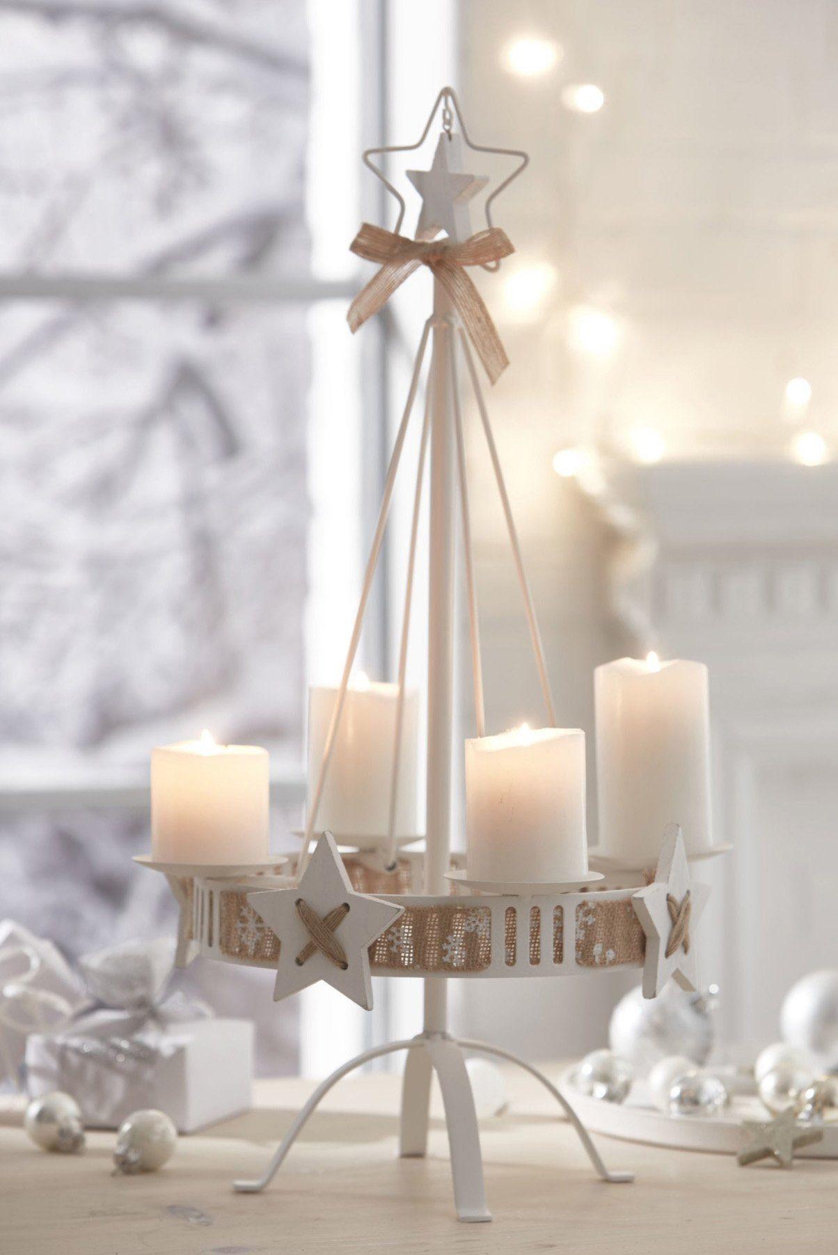 Kerzenständer mit Dekoband, »White Christmas«