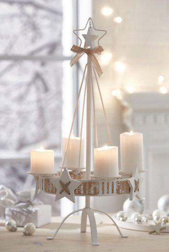 kerzenst nder mit dekoband white christmas otto. Black Bedroom Furniture Sets. Home Design Ideas