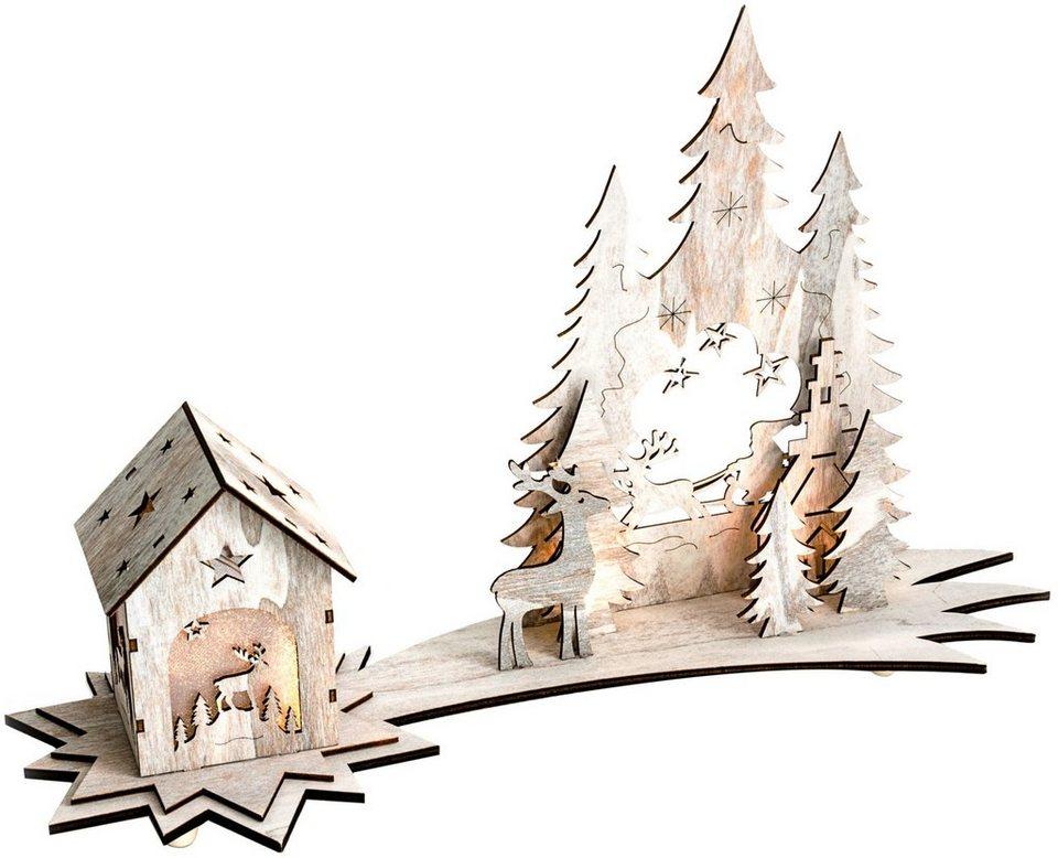Mailord LED-Winterwunderland, batteriebetrieben, »Shabby Chic« in natur/holzfarben