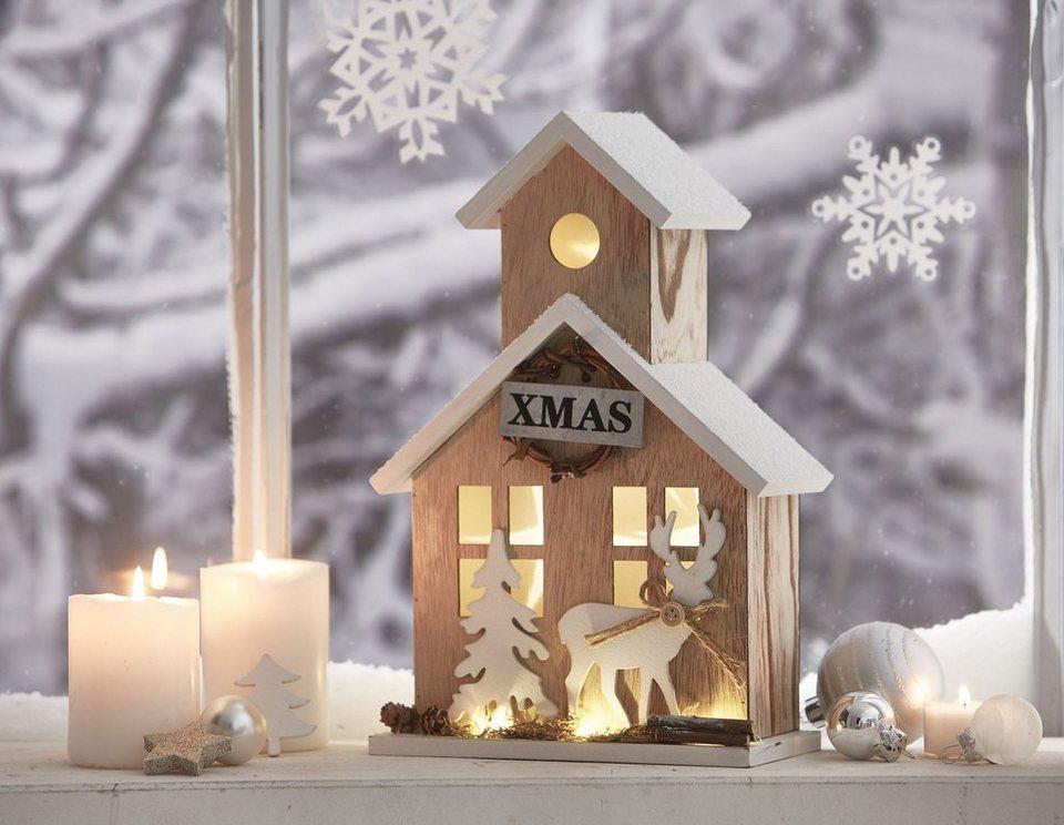 Mailord LED-Haus, batteriebetrieben, »Winterhaus« in natur/braun