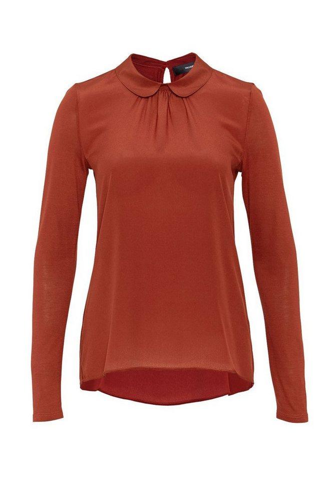 HALLHUBER Bubikragen-Shirt im Fabric-Mix in rost