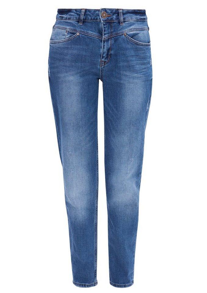 s.Oliver RED LABEL Mom Fit:Lockere High Waist-Jeans in blue denim stretch