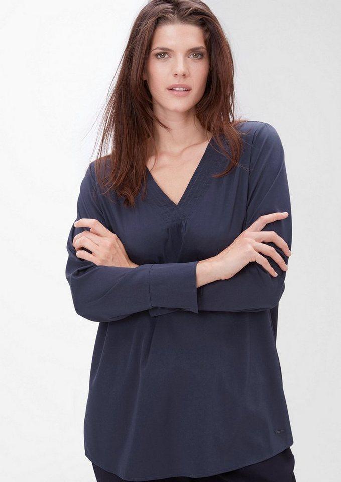 TRIANGLE Crêpe-Bluse mit V-Ausschnitt in velvet blue