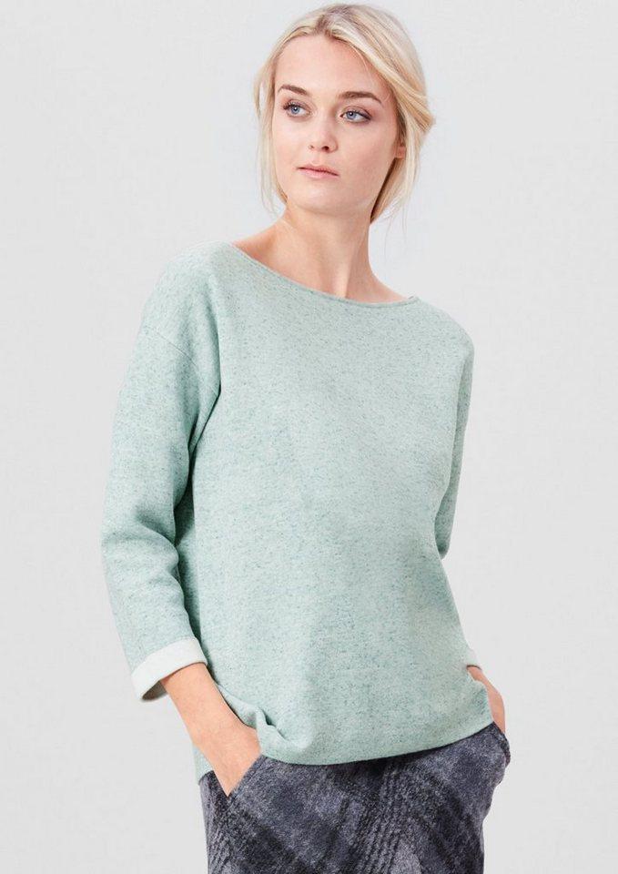 s.Oliver RED LABEL Pullover mit Kontrast-Bündchen in dusty petrol knit