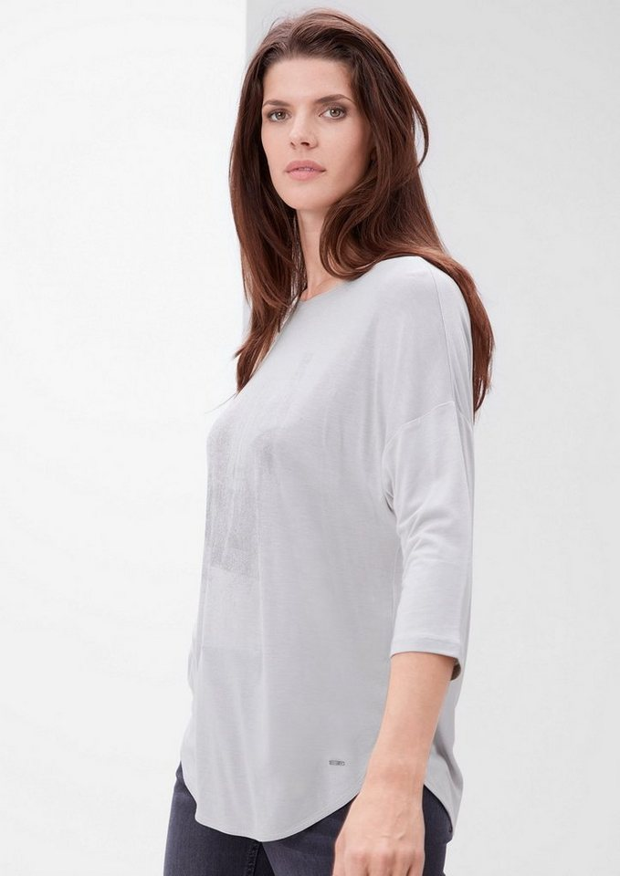 TRIANGLE Viskose-Shirt mit subtilem Print in smoky ash placed pri