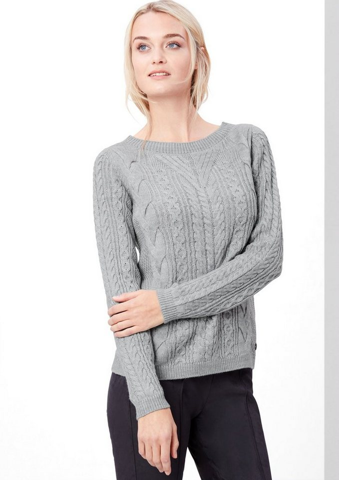 s.Oliver RED LABEL Zopfstrick-Pullover aus Woll-Mix in grey melange