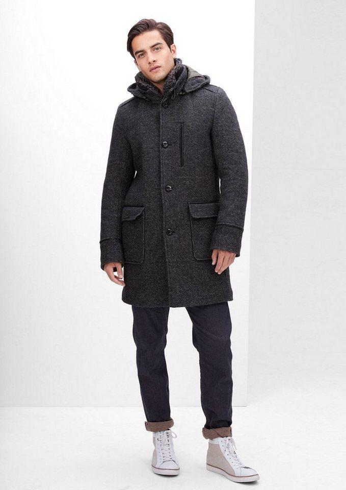 s.Oliver RED LABEL Kurzmantel aus italienischer Wolle in black melange