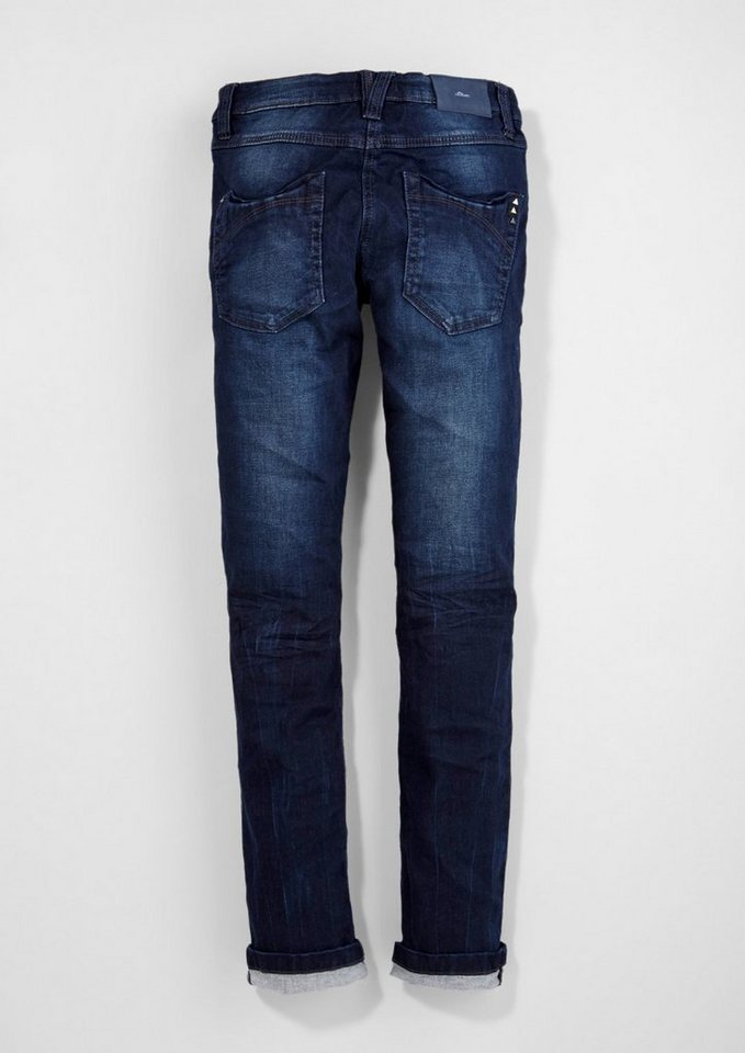 s.Oliver RED LABEL Junior Surei: Used-Jeans mit Nieten für Mädchen in dark blue AOP
