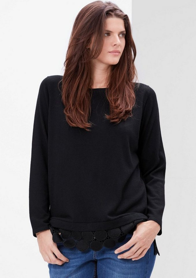 TRIANGLE Feinstrick-Pulli mit Zierborte in black
