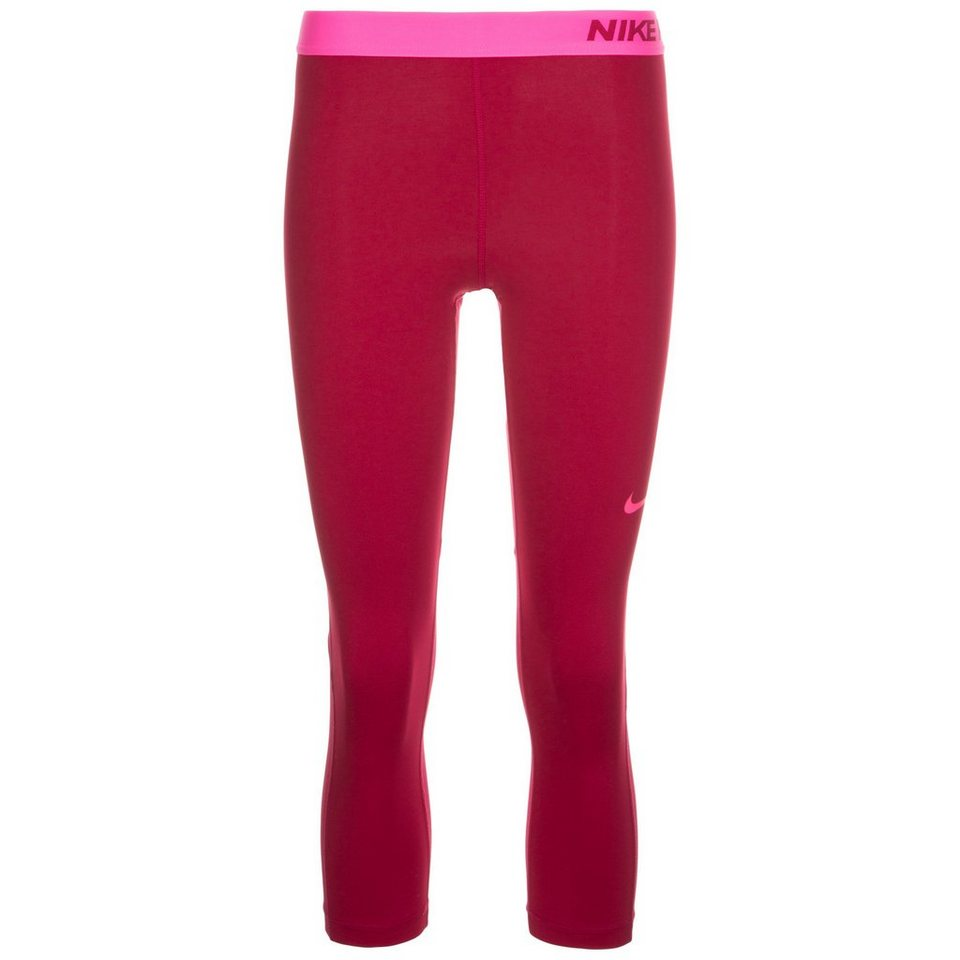 NIKE Pro Dry Capri Trainingstight Damen in bordeaux / pink