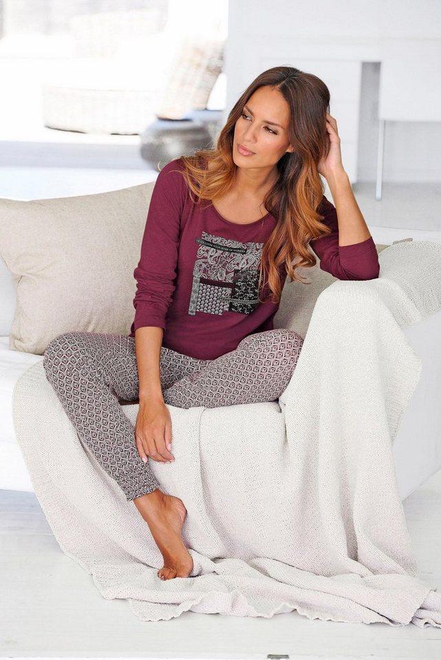 s oliver red label bodywear moderner pyjama mit gemusterter hose und langarmshirt online kaufen. Black Bedroom Furniture Sets. Home Design Ideas