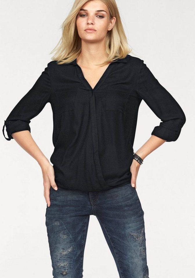 Laura Scott Wickelbluse mit feinem Strukturmuster in schwarz