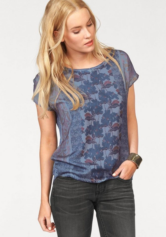 Tom Tailor Blusenshirt mit Allover Print vorn in blau-bedruckt
