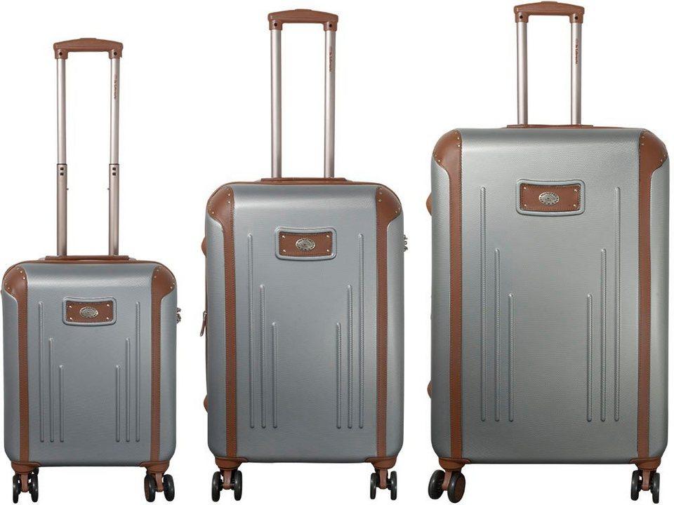 MONOPOL® Hartschalentrolley Set mit 4 Doppelrollen (3-tlg.), »Dakar« in silber