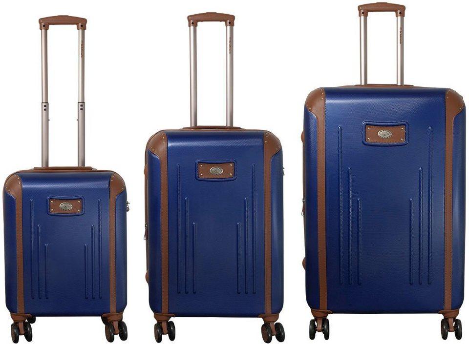 MONOPOL® Hartschalentrolley Set mit 4 Doppelrollen (3-tlg.), »Dakar« in navyblau
