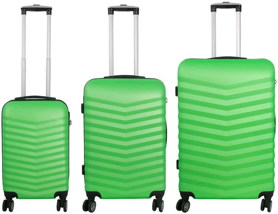 MONOPOL® Hartschalentrolley Set mit 4 Rollen (3-tlg.), »Bora« in grün