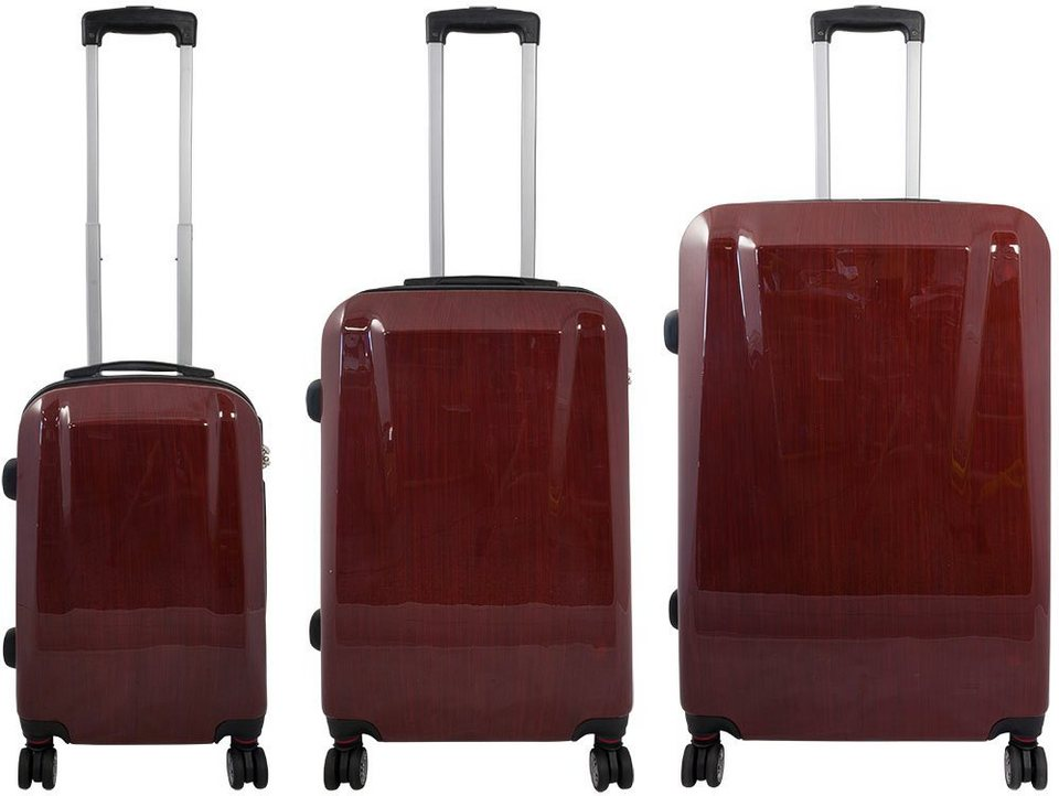 MONOPOL® Hartschalentrolley Set mit 4 Rollen (3-tlg.), »Wellington« in rot