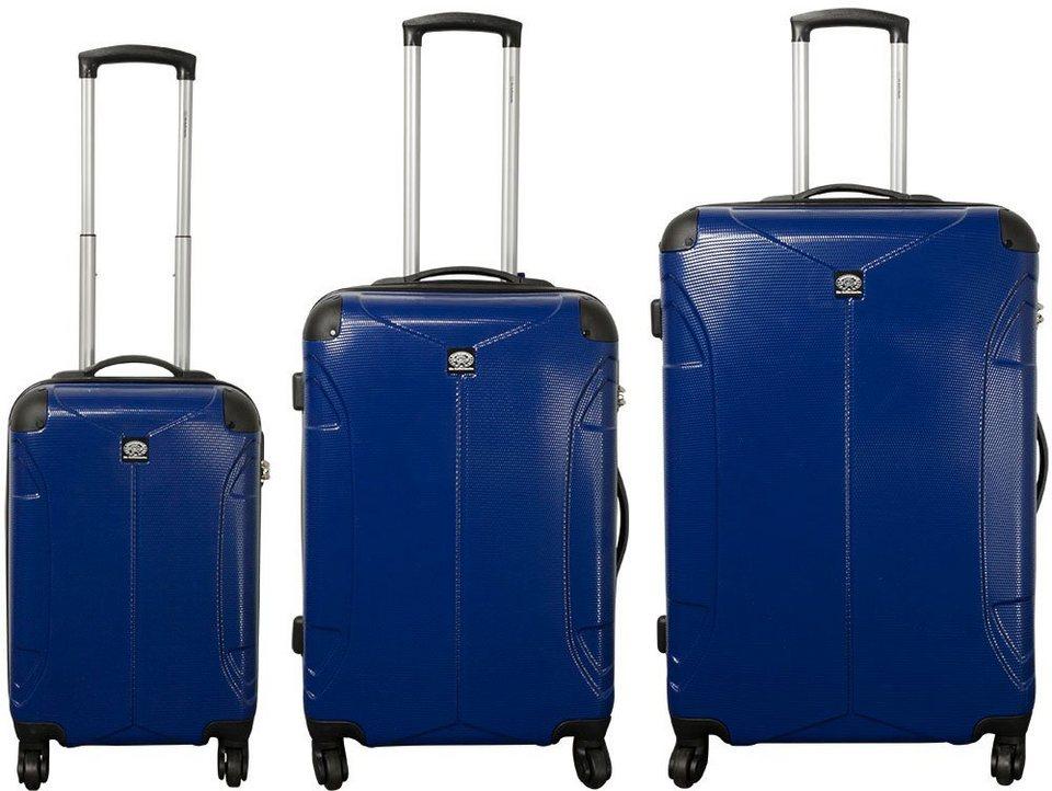 MONOPOL® Hartschalentrolley Set mit 4 Rollen (3-tlg.), »Santos« in blau